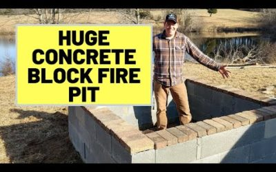 Large Concrete Block Fire Pit (6.5 Feet Square). How-To Build Fire Pit, With Videos