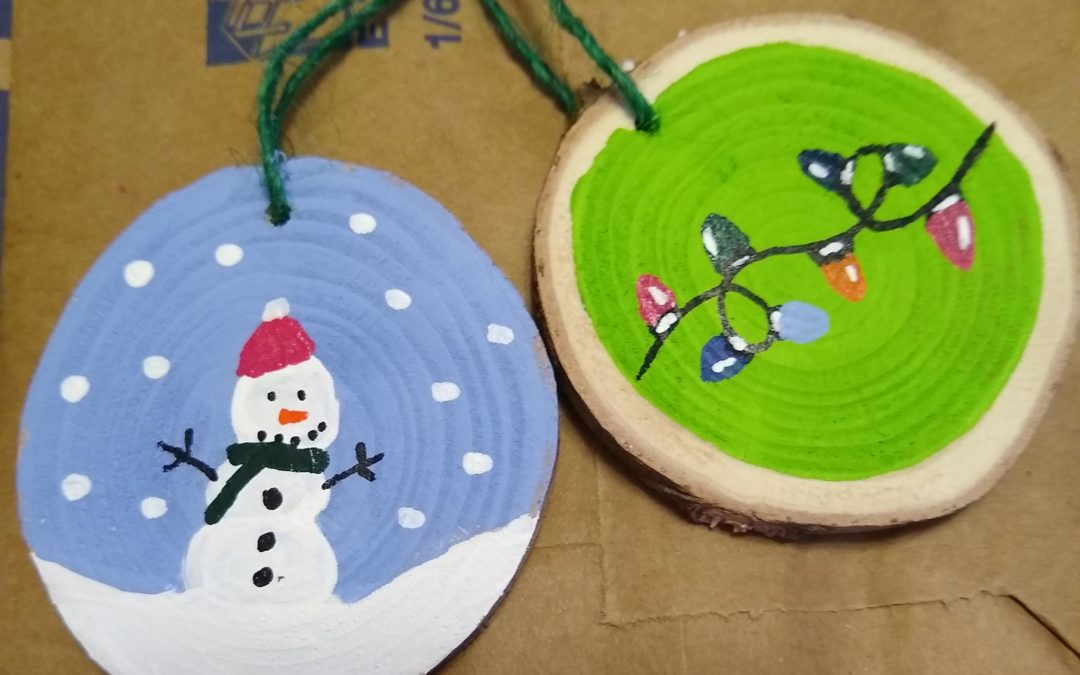 Painting Wood Slice Ornaments in the Off-Season